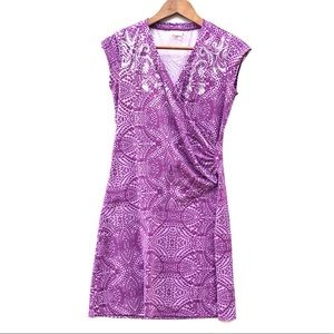 Athleta Paisley Nectar Faux Wrap Dress Purple